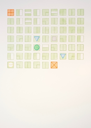 A watercolor, primarily pale green, of symbols arranged in a grid