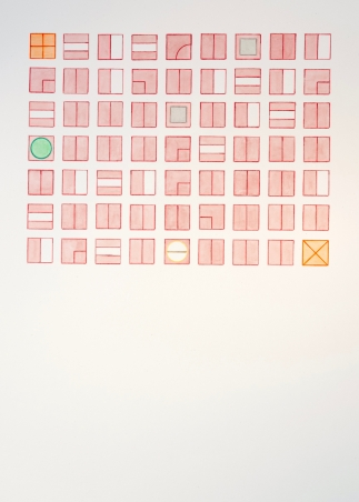 A watercolor, primarily rose colored, of symbols arranged in a grid