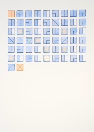 A watercolor, primarily blue colored, of symbols arranged in a grid
